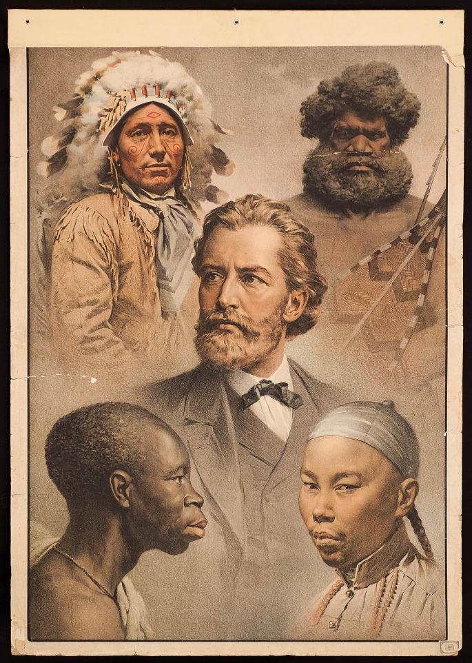"An early 20th century view of the ""Five Races of Man""."