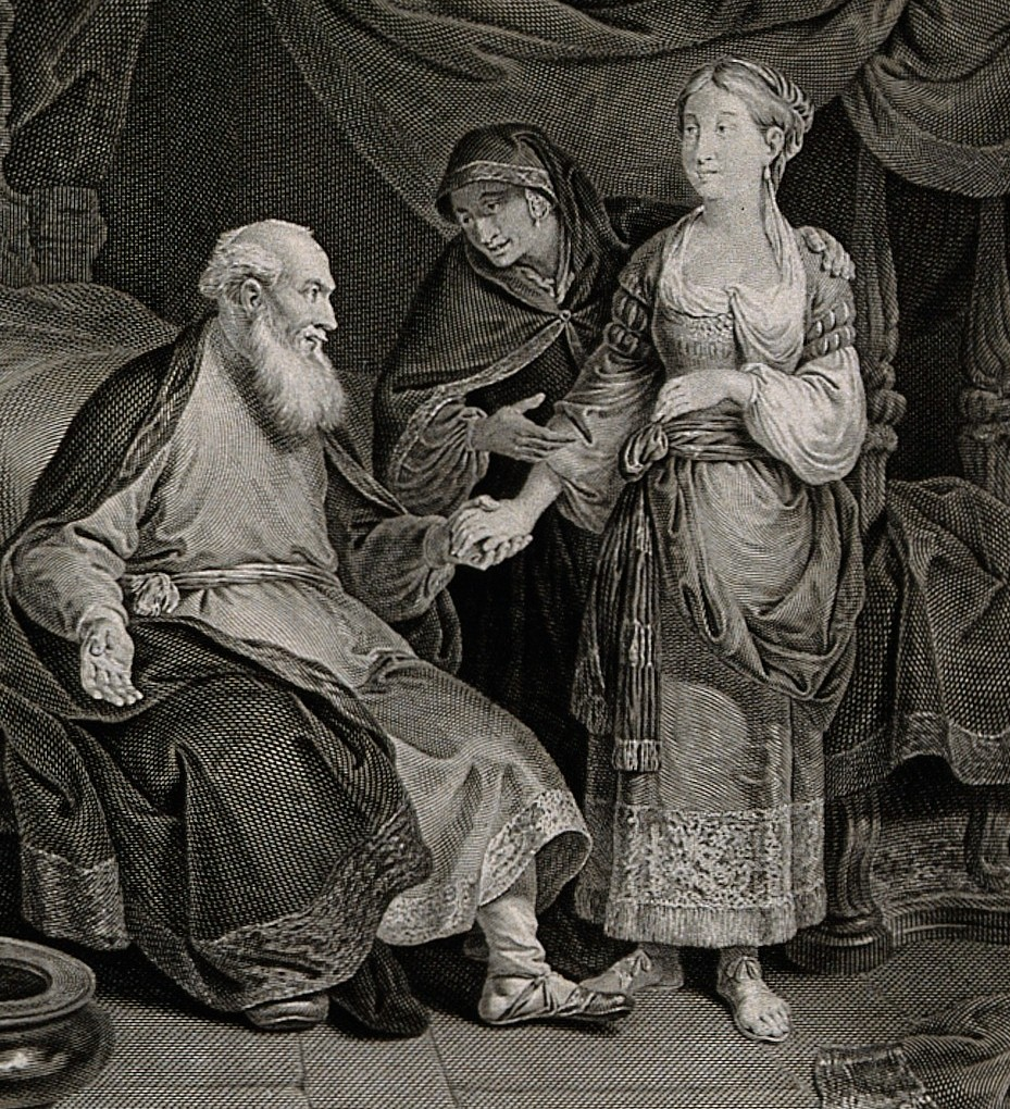 V0034436 The childless Sarah presents Hagar, her handmaid, to her husband Credit: Wellcome Library, London.